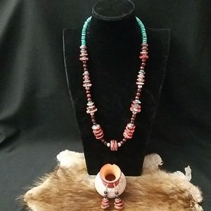 Spiny Oyster, Turquoise & Red Jasper Set